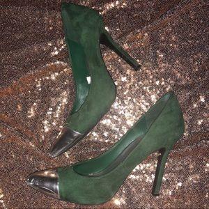 Green suede heels
